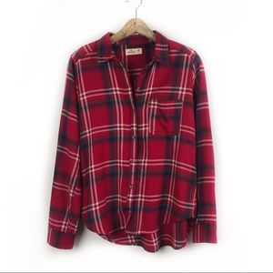Hollister Red and Blue Flannel Medium